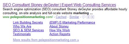 Pole Position Marketing Sitelinks